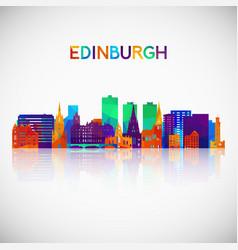 edinburgh skyline silhouette in colorful vector image