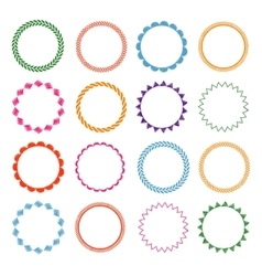 Embroidery stitches circle frames set vector