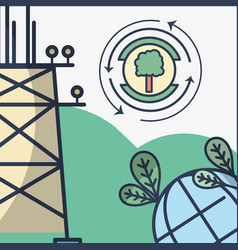 Energy tower and planet with leaves and tree vector