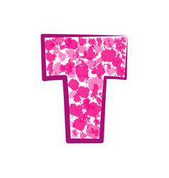 English pink letter t on a white background vector