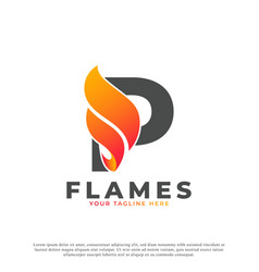 Flame with letter p logo design fire logo template vector