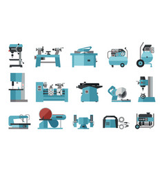flat icon collection of electric machine tools vector image
