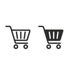 full and empty shopping cart symbol shop and sale vector image