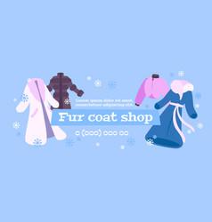 Fur coat shop poster vector