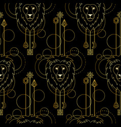 geometric lion seamless pattern vector image