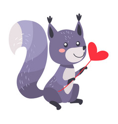 grey squirrel with heart on stick isolated white vector image