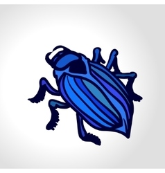 ground beetle colorful drawing big blue vector image
