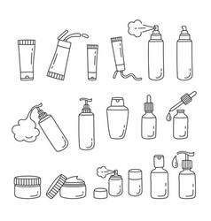 Hair cosmetics packaging set outline vector