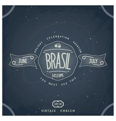 Handmade brazilian emblem on chalkboard vector image