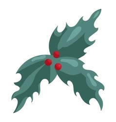 Holly berry Christmas symbol icon cartoon style vector image