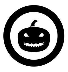 horror pumpkin black icon in circle vector image