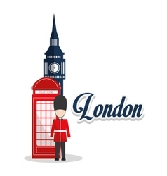 Isolated Big ben telephone and soldat design vector
