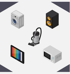 Isometric appliance set of vac music box vector