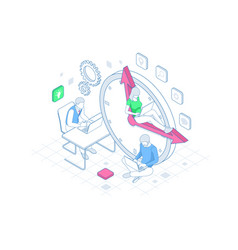 isometric effective time management in outline vector image