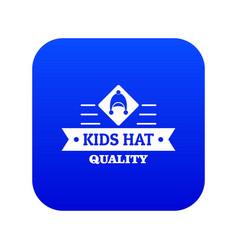Kid hat icon blue vector
