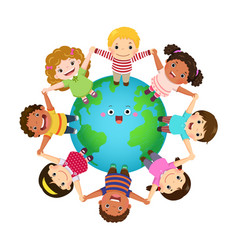 kids holding hands together around world vector image