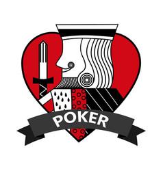 King of heart card poker ribbon symbol vector