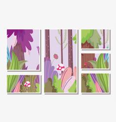 Landscape nature foliage flower mushroom bush vector