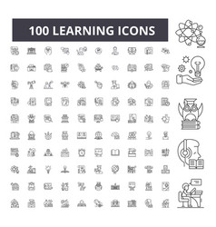learning editable line icons 100 set vector image