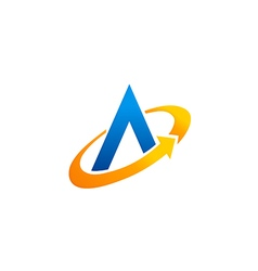 Letter A circle arrow technology logo vector