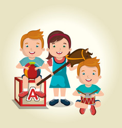 little kids playing with toys characters vector image