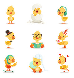 Little yellow duckling different emotions and vector