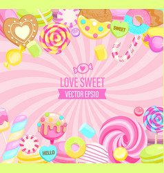 Love sweet shop logo with many sweets vector