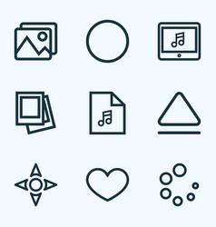 Media icons line style set with picture loading vector