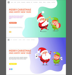 merry christmas and happy new year elf and santa vector image
