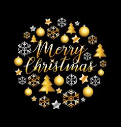 merry christmas gold glitter lettering design vector image