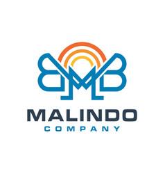 monogram logo design letter mb vector image