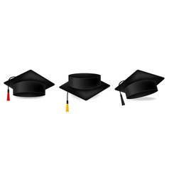 Mortarboard collection graduation cap set vector