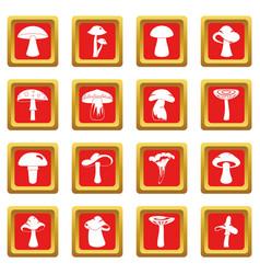 Mushroom icons set red vector