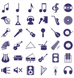 musical instruments and sound icons on white vector image