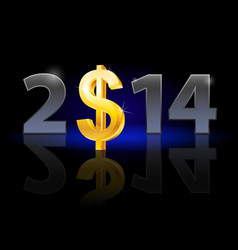 New year 2014 metal numerals with usa dollar vector