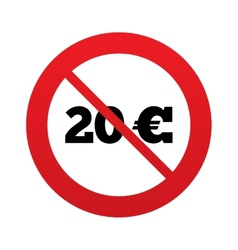 No 20 Euro sign icon EUR currency symbol vector image