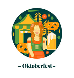 oktoberfest banner in flat style vector image