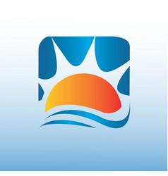 on square yellow sun logo design icon vector image