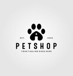 Pet shop paw logo design vintage pet house vector