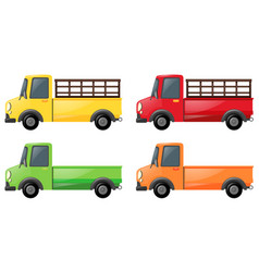 Pick up truck in four colors vector