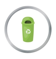 Recycle garbage can icon in outline style isolated vector image
