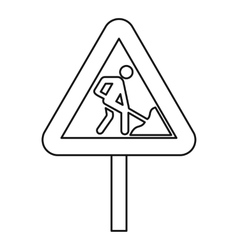 Road works warning traffic sign icon outline style vector