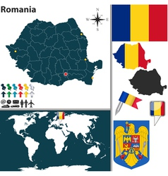 Romania map world vector image