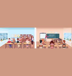 school lesson female teacher with pupils set front vector image