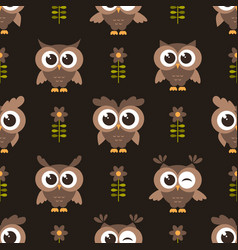 seamless pattern with brown cute owls and flowers vector image