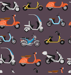 seamless pattern with motor scooters vector image
