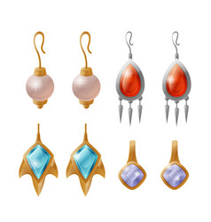 Set expensive earrings isolated on white vector