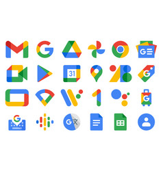 Set new google product icons vector