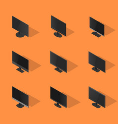 set of flat monitors in 3d vector image