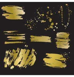 Set of golden blots and splashes vector image
